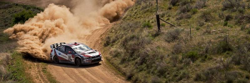Travis Pastrana pilots his Subaru WRX to a win at the 2017 Oregon Trail Rally. (courtesy of ARA)