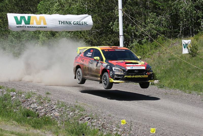 Jeff Seehorn and co-driver Karen Jankowski hit the jump on the first stage at the 2017 Waste Management Susquehannock Trail Performance Rally. (Lori Lass Photography)